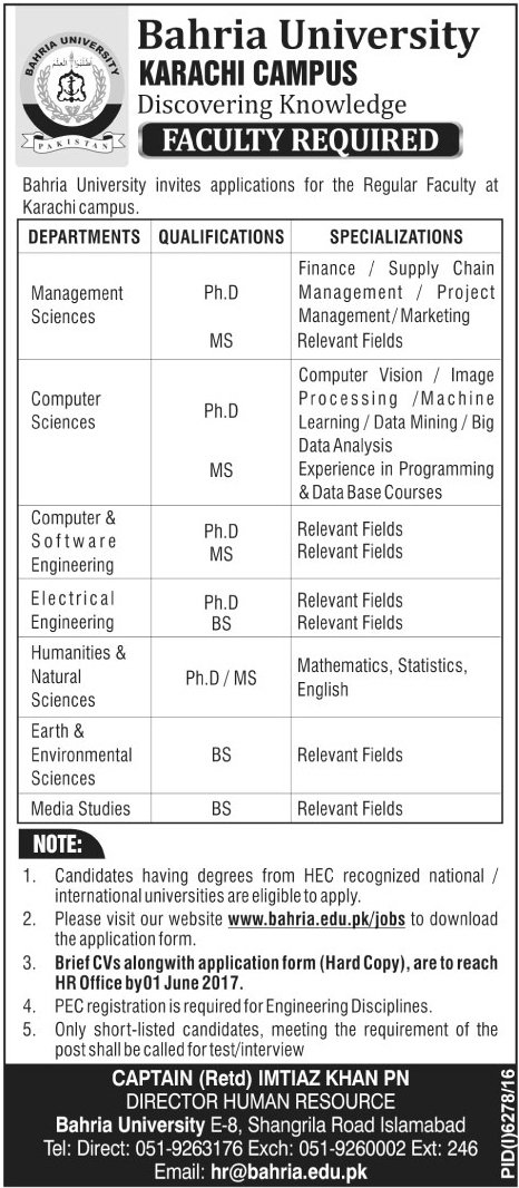 Faculty Jobs in Bahria University Karachi Campus 22 May 2017