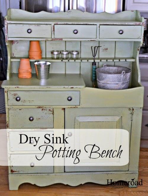 Dry Sink Potting Bench  www.homeroad.net