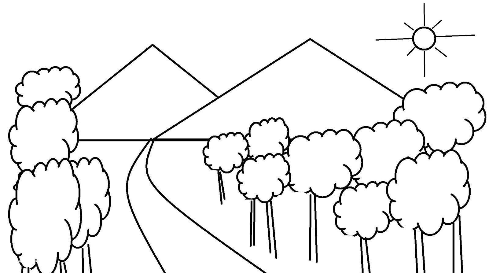 Sketsa Gambar Pemandangan Gunung Dan Sawah Kreasi Dunia Anak Cerdas