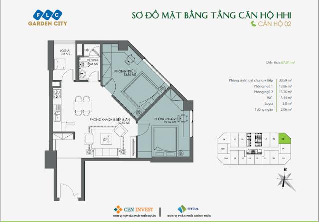 Thiết kế căn hộ 02, 67m, HH1 FLC Garden City