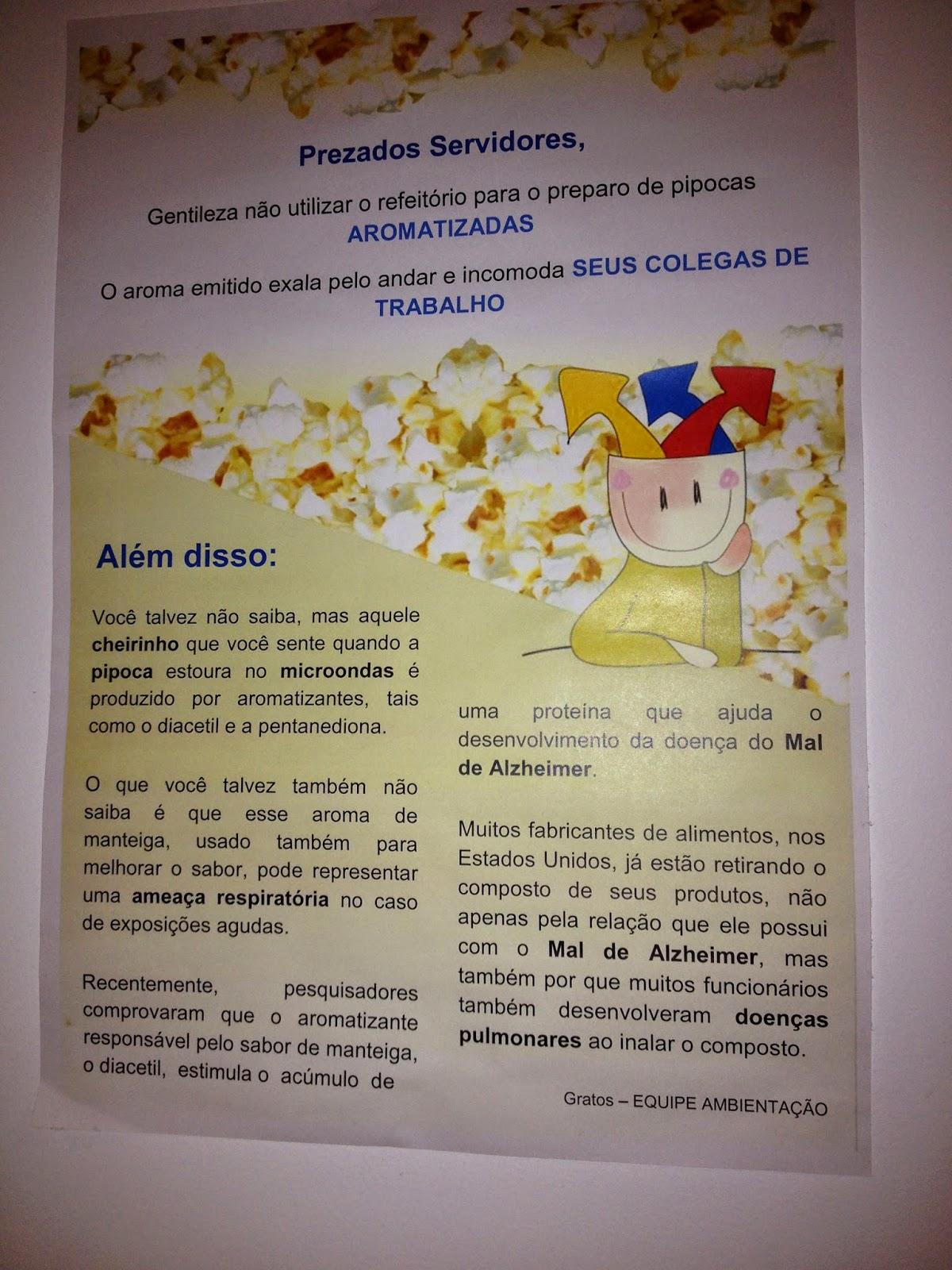 Aromatizante de pipoca e Alzheimer