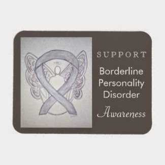 BPD Borderline Personality Disorder Awareness Ribbon Grey Angel Art Custom Refrigerator Magnet