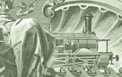 vignette with allegorical woman and locomotive, taken from share certificate