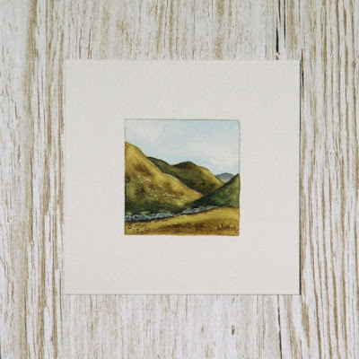 Scottish watercolour landscape painting with sheep #2