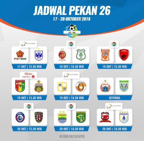 Jadwal Liga 1 2018 Pekan 26