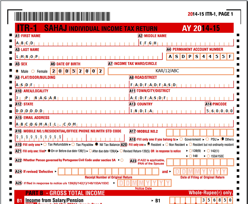 instructions for filling out income tax