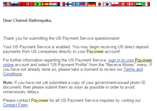 us payment service active message - opened us bank account