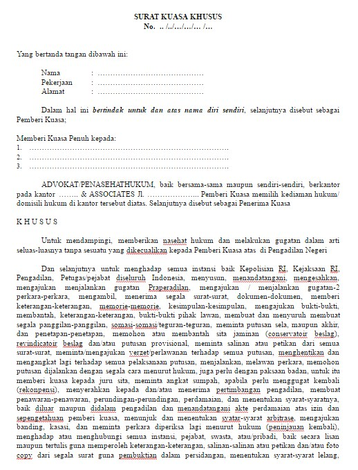Contoh Format Surat Kuasa Khusus Terbaru dan Terlengkap File Word