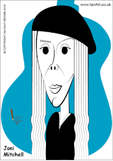 Joni Mitchell caricature by Ian Davy Brown