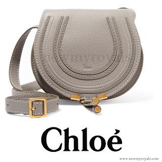 Princess Madeleine style Chloé Gray Marcie Mini Leather Shoulder Bag