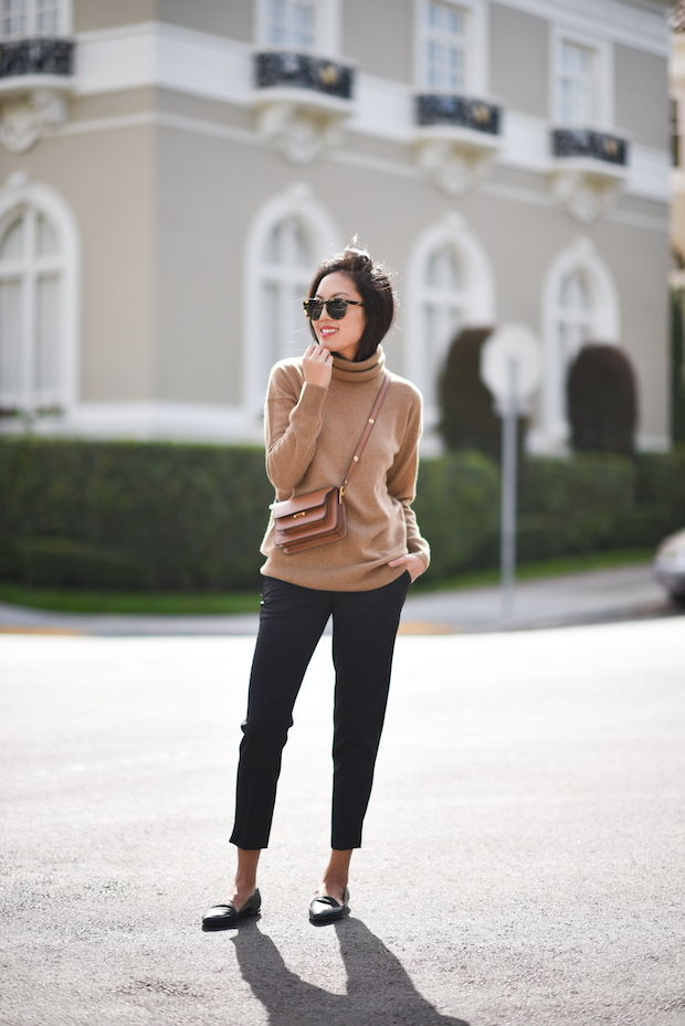 Comfort and Style: Cashmere Turtleneck with Slim Trousers