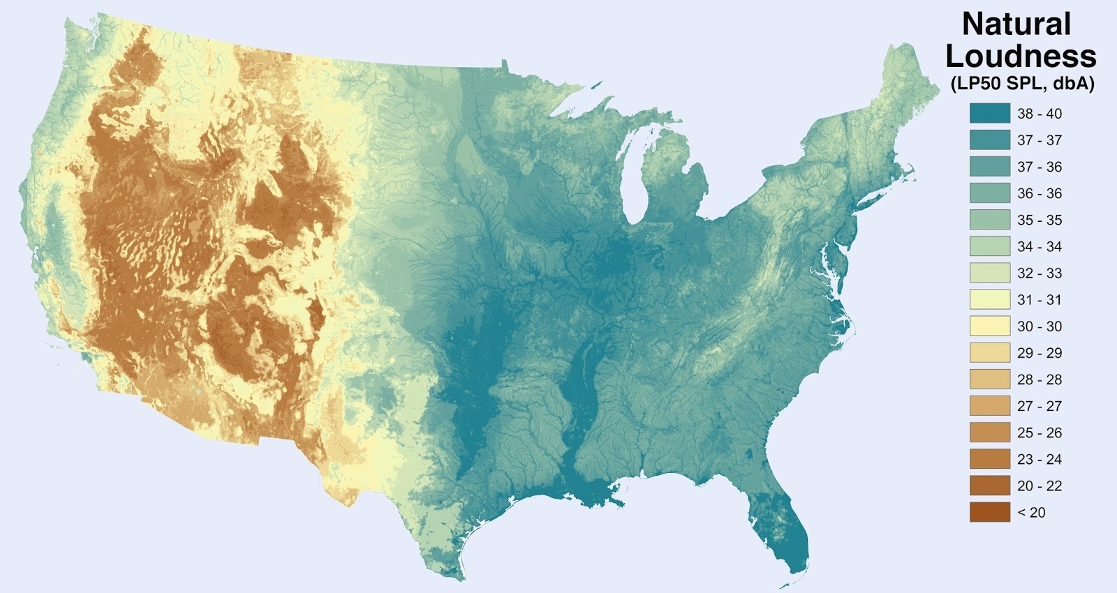 Noise level from natural sources in the U.S. (excluding humans and human activity)