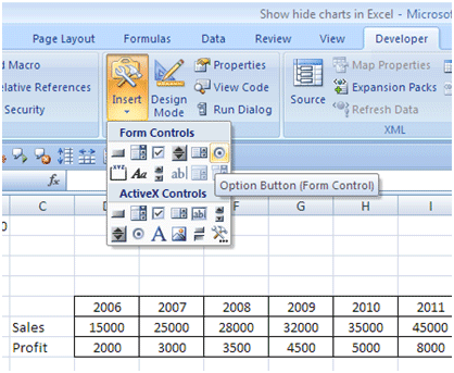 Excel for power dynamically show hide charts click and drag in the sheet to create the option button ccuart Gallery