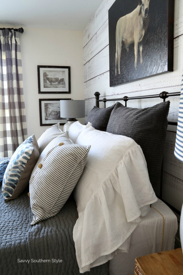 side view of pillows on bed