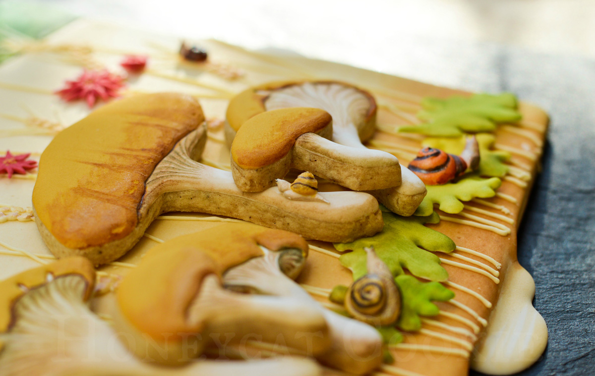 Close up of trial arrangement of sugar cookie mushrooms on background for cookie calendar