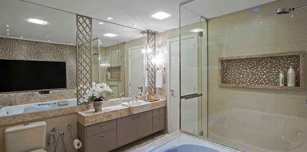 Construindo Minha Casa Clean 20 Banheiros com Bancadas Bege  Veja Dicas e I -> Banheiro Decorado De Casal
