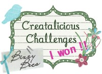 Winner over at Creatalicious Challenges