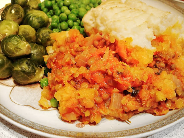 A serving of lentil pie