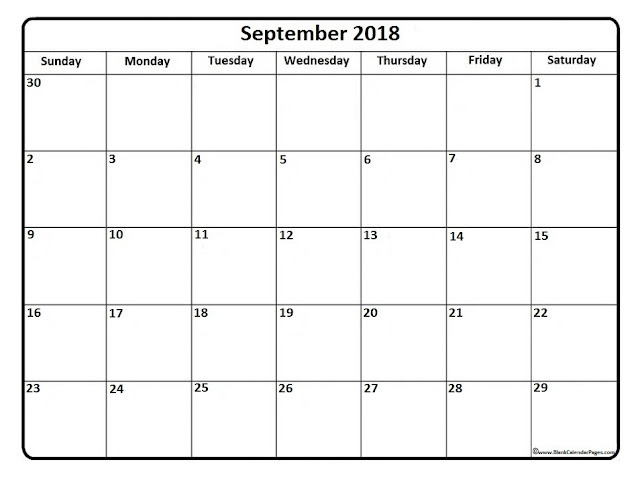 September 2018 Monthly Calendar Printable Templates