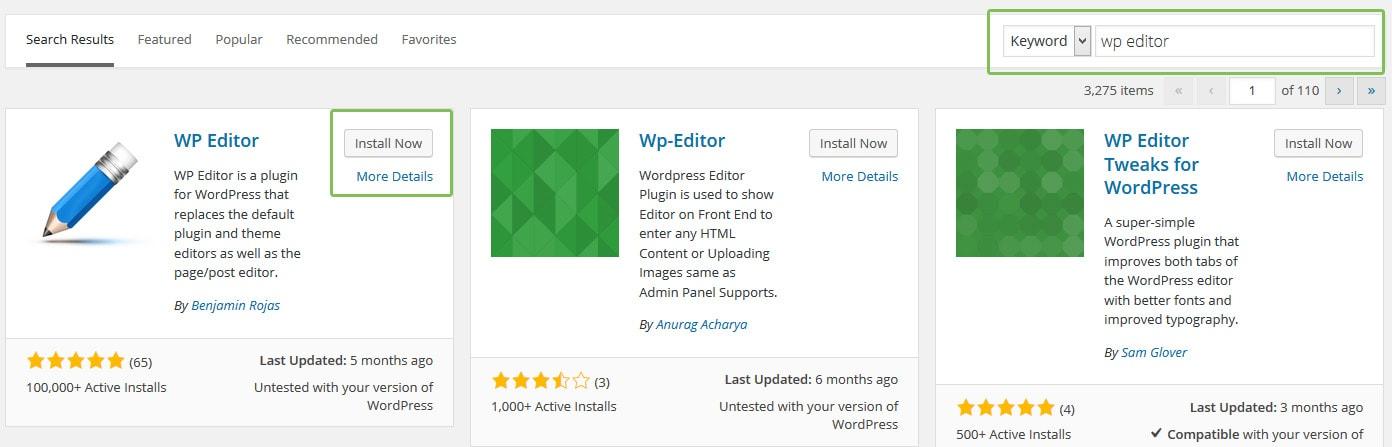 search plugin via dashboard wordpress