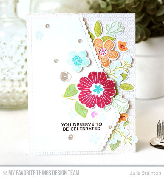 Handmade card from Julia Stainton featuring Bold Blooms stamp set and Die-namics, Lined Up Dots Background stamp, and Stitched Scallop Basic Edges Die-namics #mftstamps