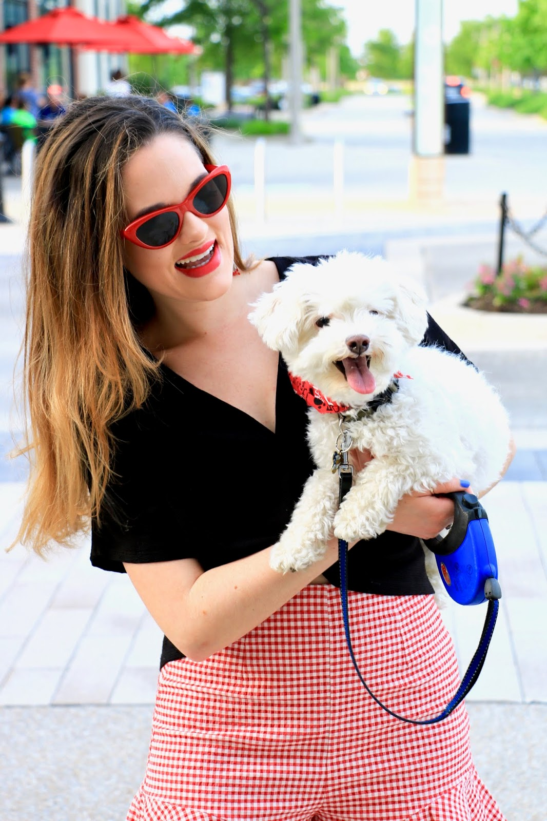 Nyc fashion blogger Kathleen Harper with her bichon maltese puppy