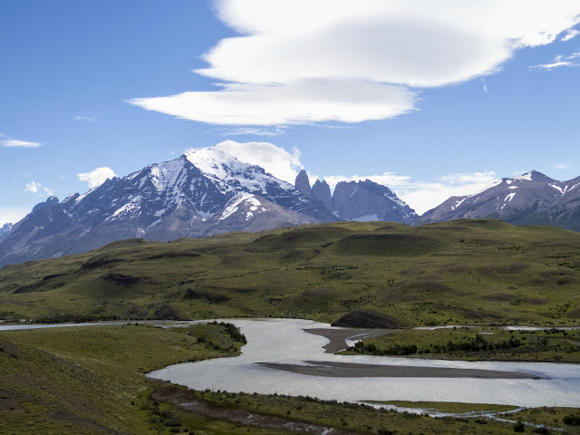 River with Las Torres in the backdrop on a Torres del Paine Day Trip from Puerto Natales in Patagonia
