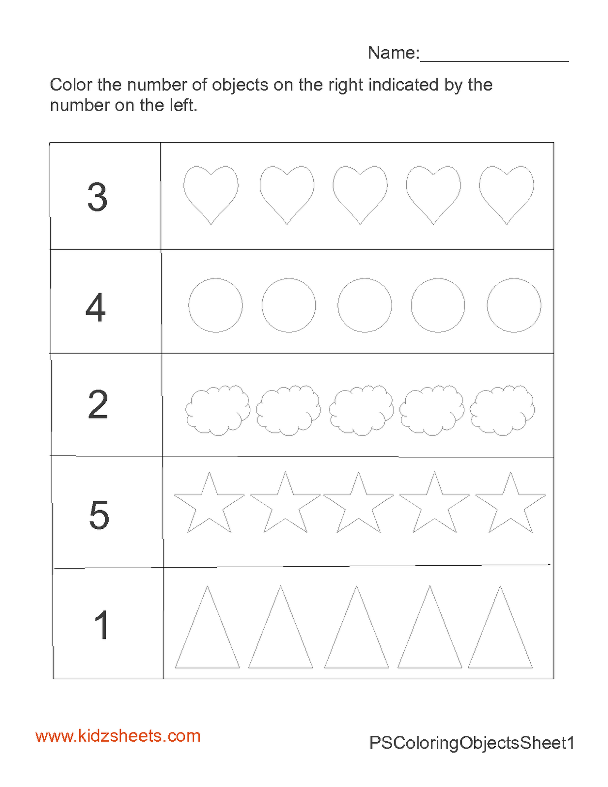 Kidz Worksheets Preschool Count Amp Color Worksheet1