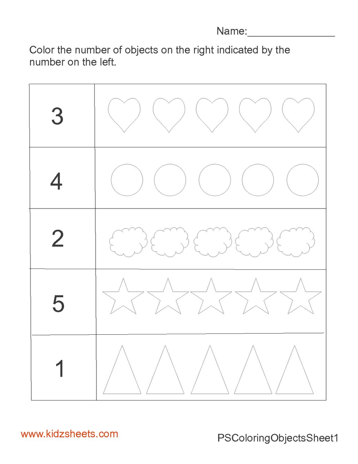kidz worksheets preschool count color worksheet1. Black Bedroom Furniture Sets. Home Design Ideas