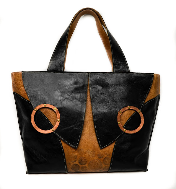 Chemical Wedding leather tote in whiskey and black with copper embellishments