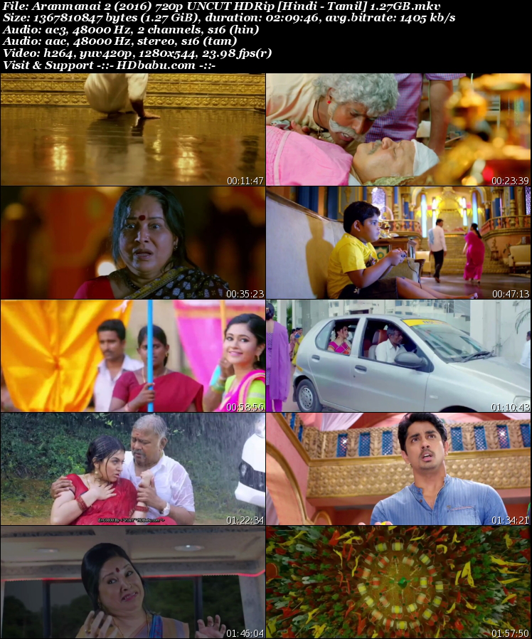 Aranmanai 2 Hindi Dual Audio Full Movie Download, Rajmahal 2 2017 Hindi Dubbed Full Movie Download Free,Aranmanai 2 Un-Cut 720p HDRip 1GB Hindi Dual Audio 480p HDRip Free Download MKV Mp4 HD