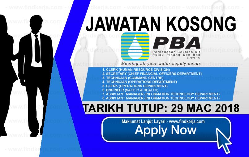 Jawatan Kerja Kosong PBA - Perbadanan Bekalan Air Pulau Pinang logo www.findkerja.com mac 2018