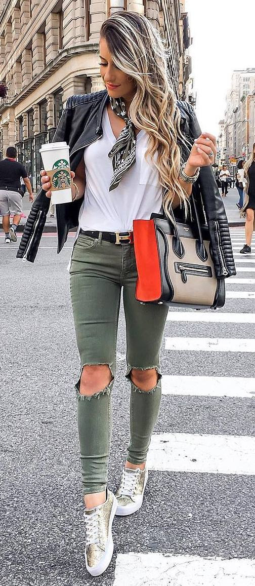 fall fashionable outfit | moto jacket + bag + top + rips + sneakers
