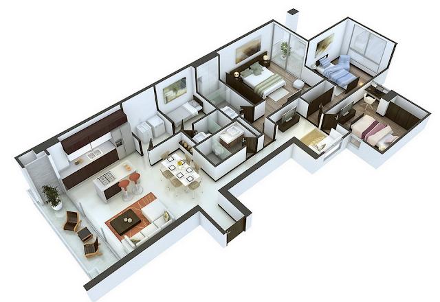 contoh denah rumah sederhana 3 kamar tidur 3d