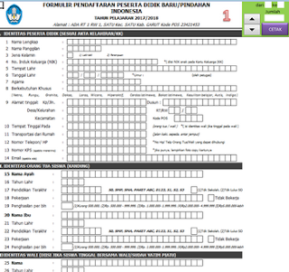 Aplikasi PPDB SD/SMP/SMA/SMK Terbaru Tahun 2017/2018 Format Excel