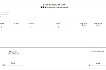 Format Buku Pembantu Kas Bulanan (BOS K-4)