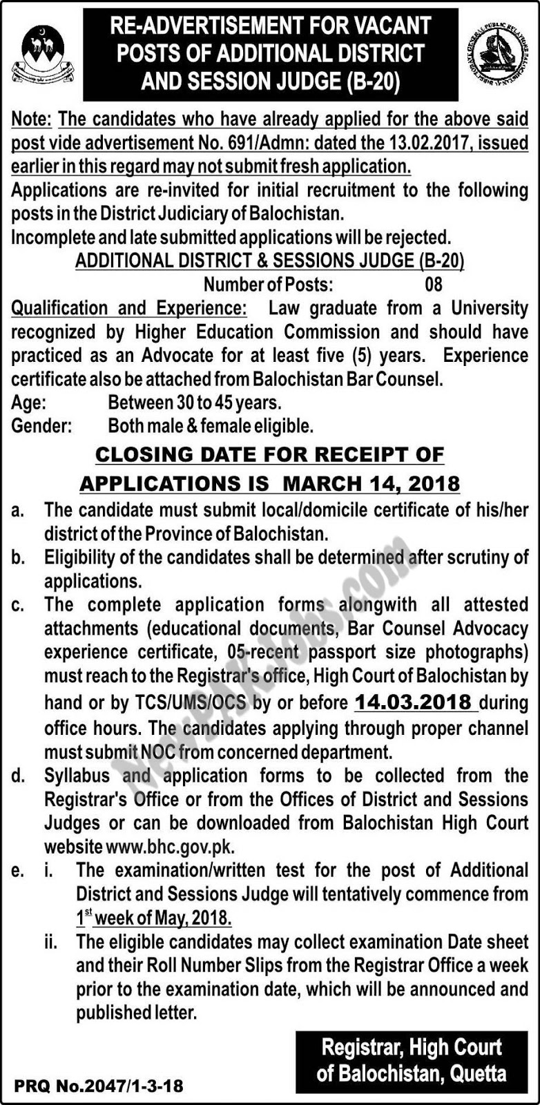 Re-Advertisement for Vacant Posts of Additional District and Session Judge