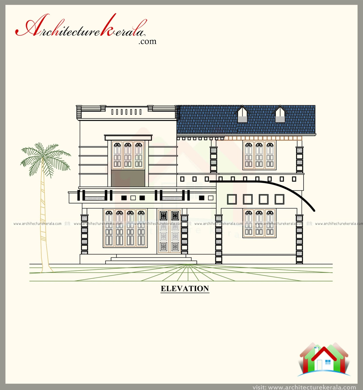 Elevation Mediterranean Architecture Style House Plans: BEAUTIFUL HOUSE PLAN WITH 4 BEDROOM