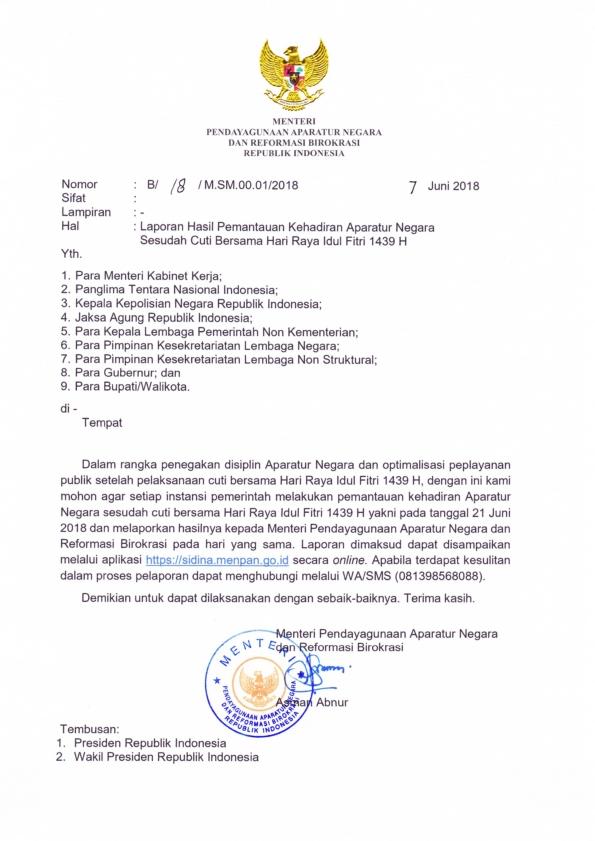Edaran Menpan Tentang Pengawasan PNS/ ASN Setelah Cuti Panjang Idul Fitri 1439 Hijriah/ Tahun 2018