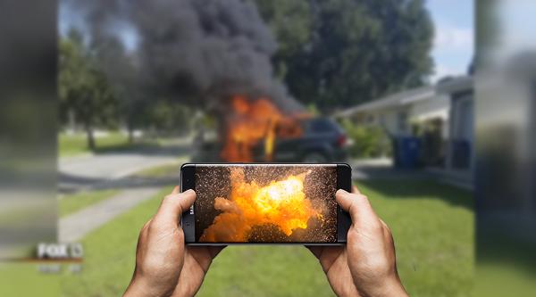 انفجار اخر لهاتف جالكسي نوت 7 داخل سيارة دفع رباعي