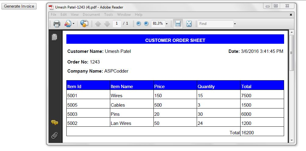 how to generate pdf invoice dynamically in asp net asp codder