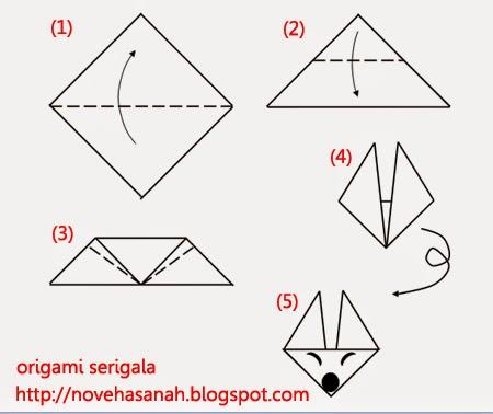 Origami Serigala Untuk Anak Tk