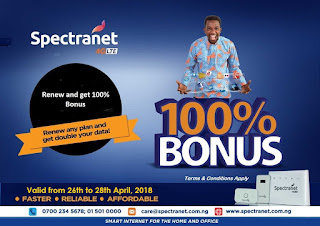 Get The Spectranet 100% Cash Back and Data 2in1 Offer