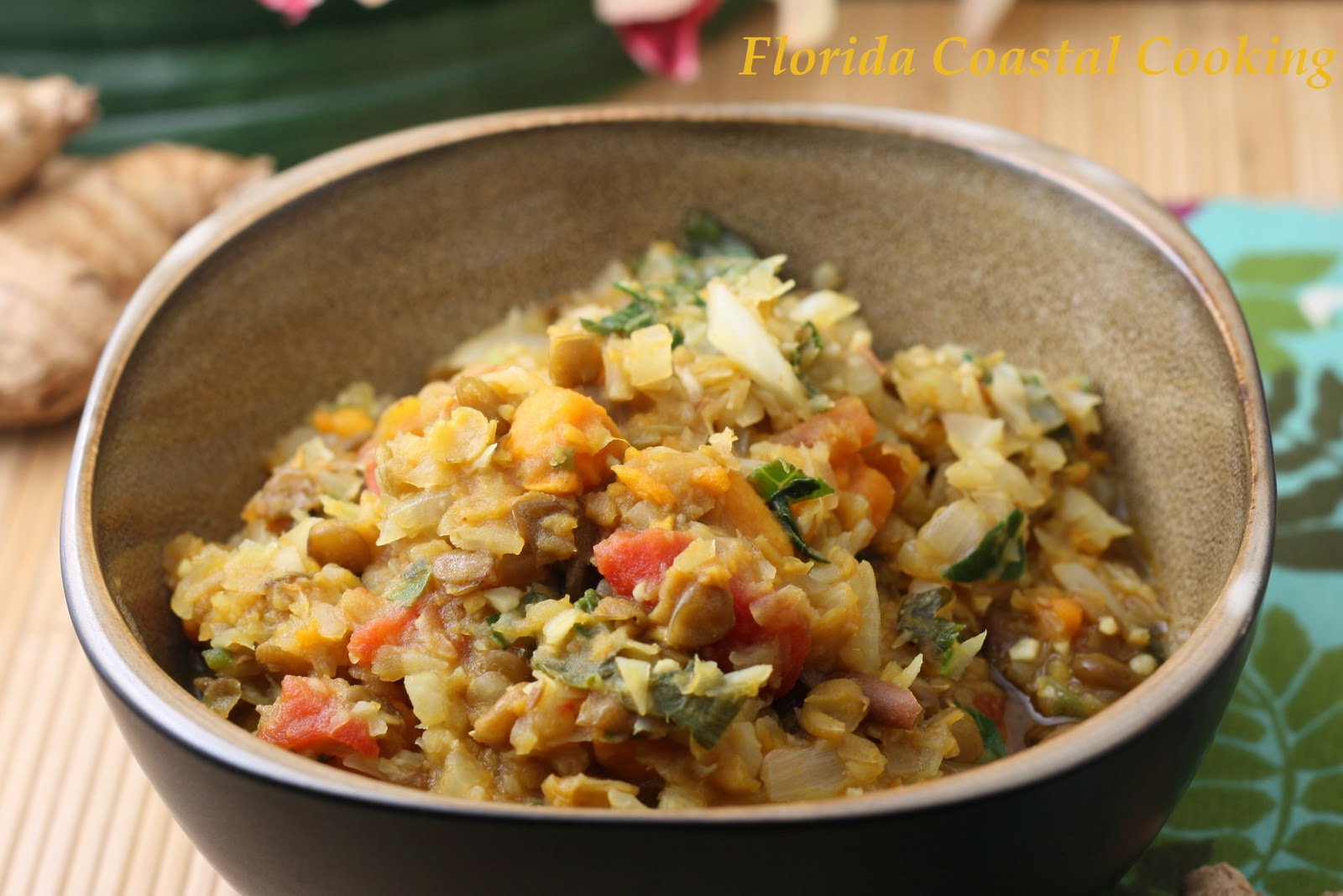 Green Lentils With Ginger Coconut Milk Sweet Potato And Cabbage