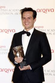Andrew Scott with BAFTA award for Professor Moriarty BBC Sherlock