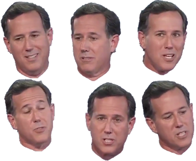 Stressed out Rick Santorum faces angry annoyed upset guilt