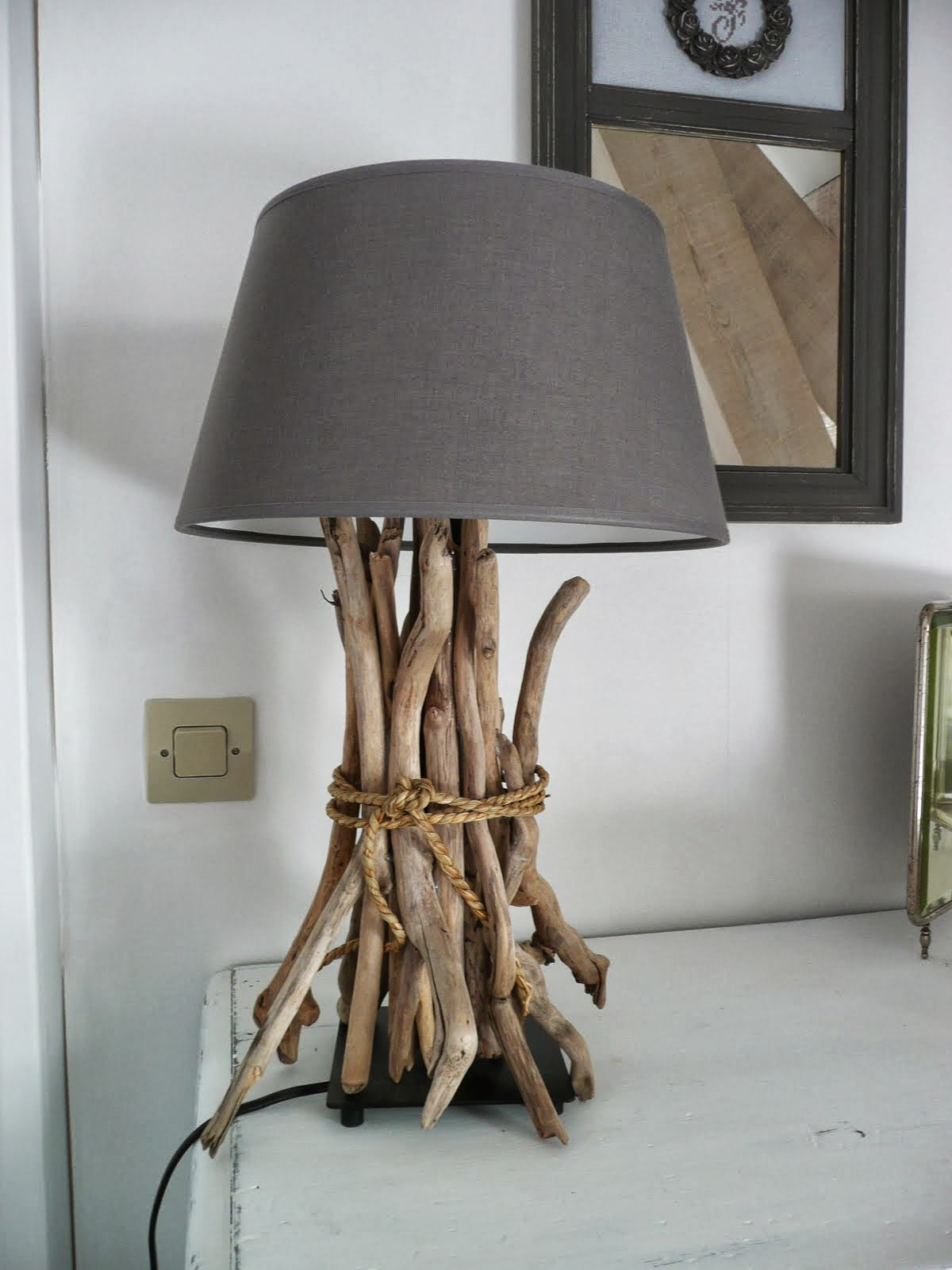 5) Use A Glue Gun To Stick The Drift Wood Sticks. Decorate With A Piece Of  Rope Wound Round The Sticks. 7) Choose A Lamp Shade