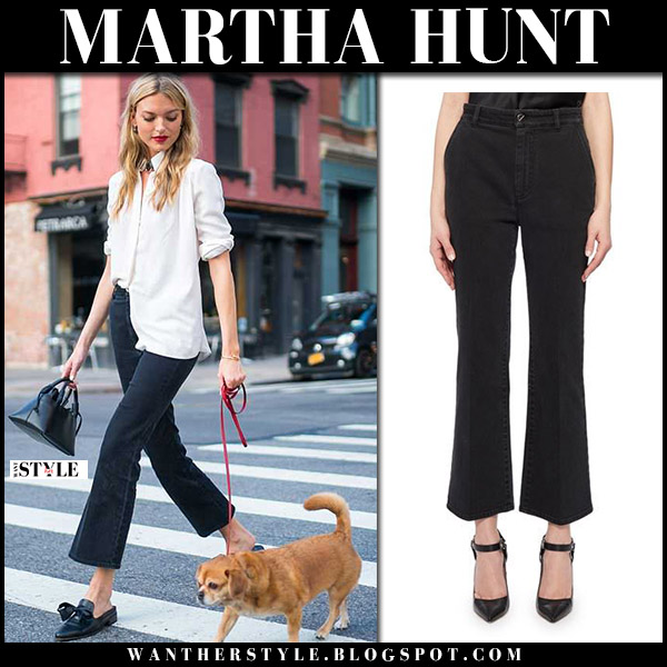 Martha Hunt in white shirt and black cropped jeans altuzarra model street style june 29