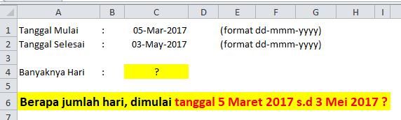 Contoh Soal Rumus Excel Menghitung Jumlah Hari