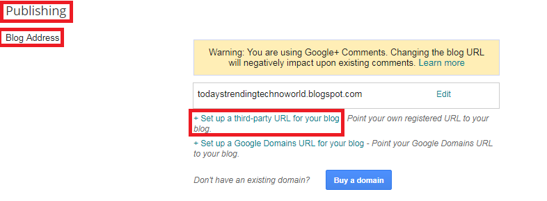 redirect your blog without www to a www domain
